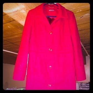LADIES RED LONG PEACOAT